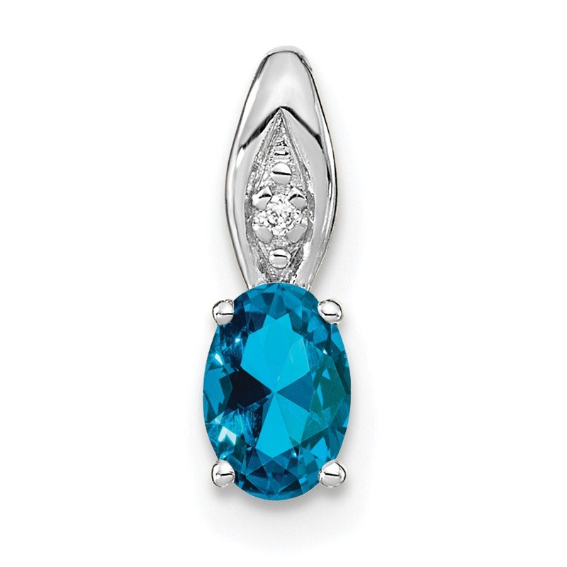 Quality Gold 14k White Gold Blue Topaz and Diamond Pendant