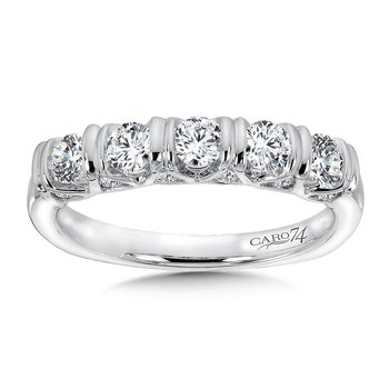 Bar-Set Diamond and 14K White Gold Wedding Band
