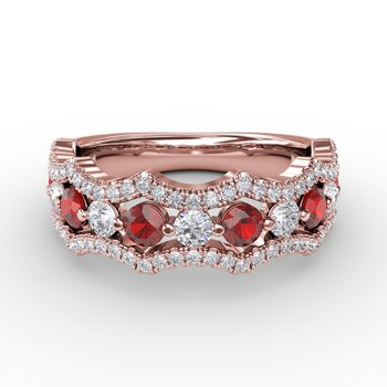 Endless Romance Ruby and Diamond Wave Ring