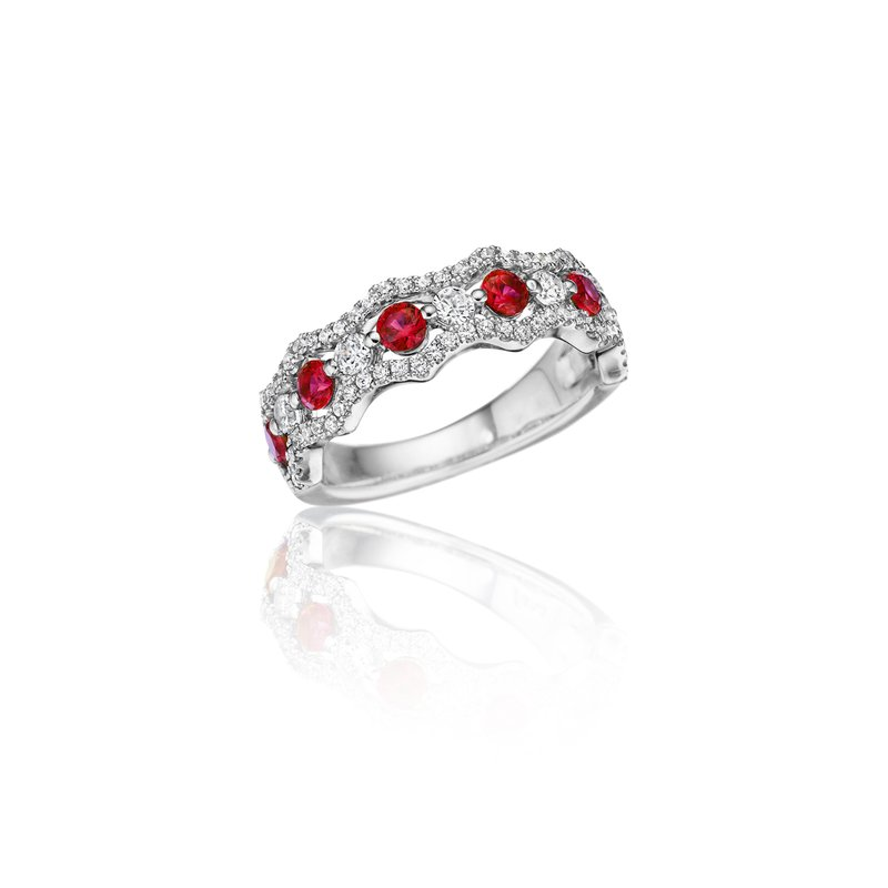 Fana Endless Romance Ruby and Diamond Wave Ring