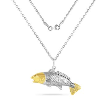 14K YELLOW  & STERLING SILVER FISH PENDANT ON 18 INCHES SILVER CHAIN