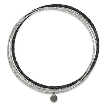 Sterling Silver Black Glitter Enamel Polished & D/C Bangle Bracelet