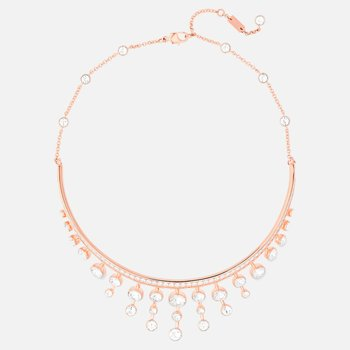 Theatre Choker, White, Rose-gold tone plated