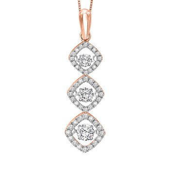 14KP Diamond Rhythm Of Love Pendant 1 ctw