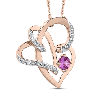 10K Rose Gold Diamond and Pink Sapphire Capture Her Heart™ Pendant with Chain