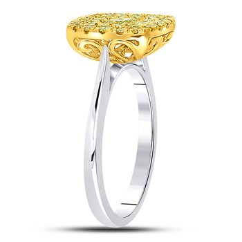 14kt Two-tone Gold Womens Princess Yellow Diamond Solitaire Square Frame Ring 1.00 Cttw