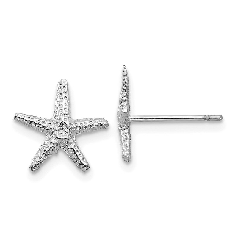 Quality Gold 14k White Gold Starfish Post Earrings