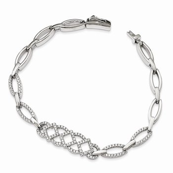 Sterling Silver & CZ 7in Brilliant Embers Bracelet