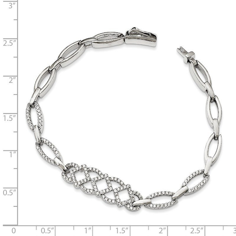 Arizona Diamond Center Collection Sterling Silver & CZ 7in Brilliant Embers Bracelet
