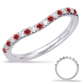 White Gold Ruby.& Diamond Band