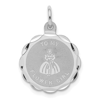 Sterling Silver Rhodium-plated To My Flower Girl Disc Charm