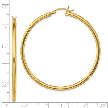 Sterling Silver Gold-Tone Polished 2.5x50mm Hoop Earrings
