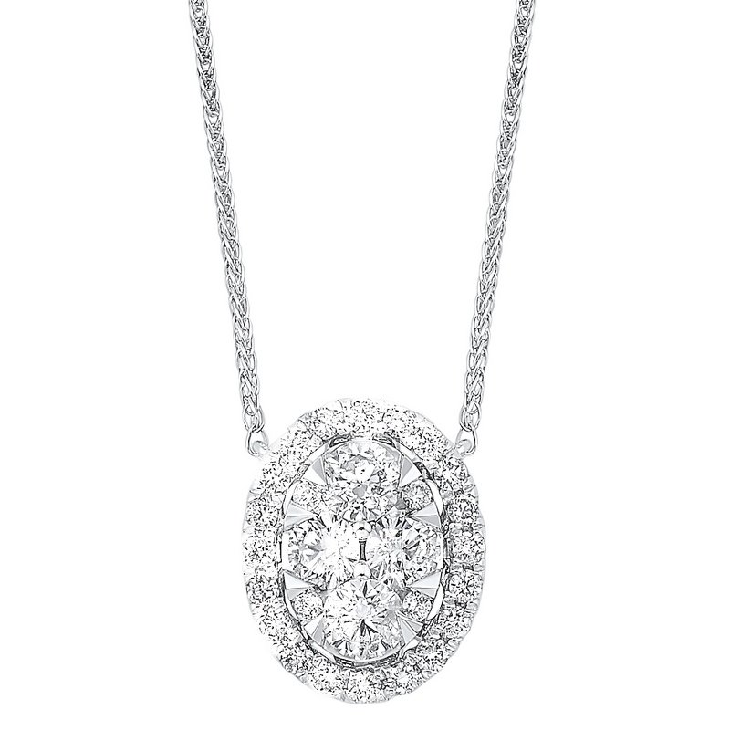 Gems One Diamond Starburst Eternity Oval Cluster Pendant Necklace in 14k White Gold (1/2 ctw)
