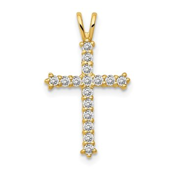 14k Polished CZ Cross Chain Slide