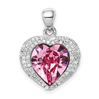 Sterling Silver Rhodium-plated Clear/Pink Crystal Heart Pendant