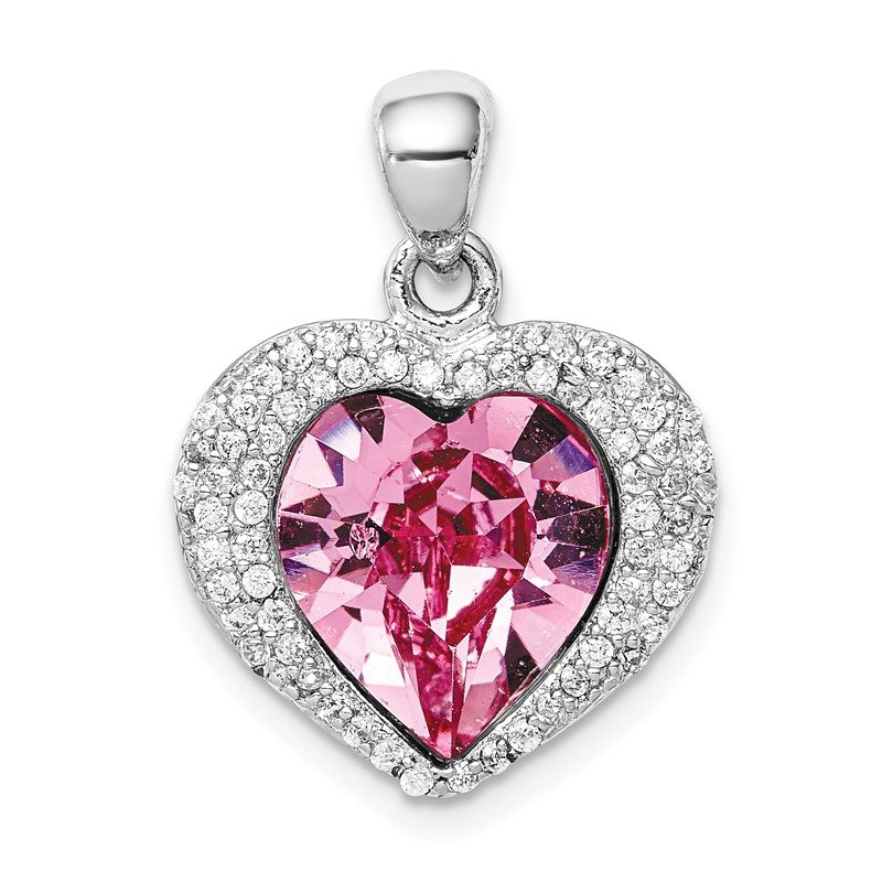 Quality Gold Sterling Silver Rhodium-plated Clear/Pink Crystal Heart Pendant
