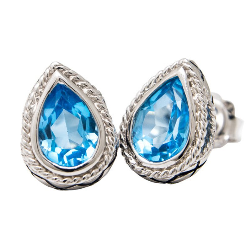 Andrea Candela STERLING SILVER BLUE TOPAZ EARRINGS