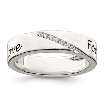 Sterling Silver CZ Enameled Love Forever Ring