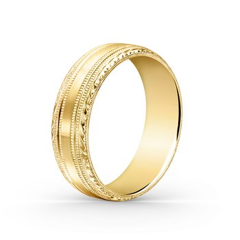 Engraved Milgrain Mens Wedding Band 7mm
