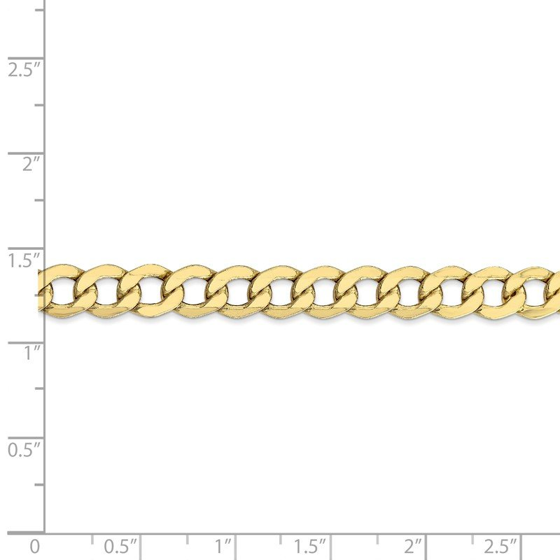 Quality Gold 10k 7mm Semi-Solid Curb Link Chain