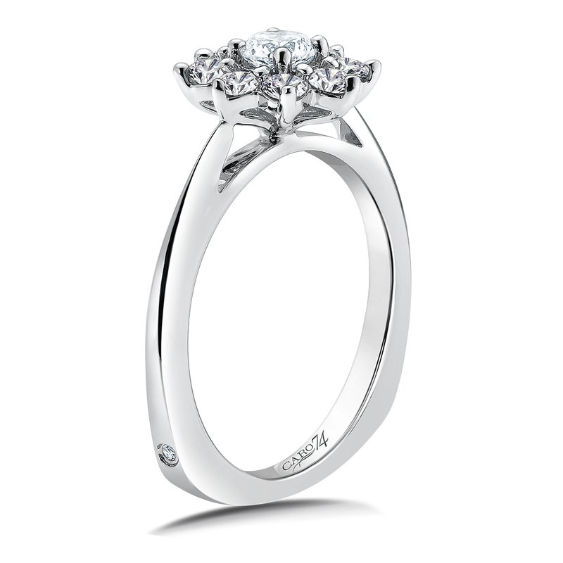 Caro74 Halo Engagement Ring Mounting in 14K White Gold (.64 ct. tw.)