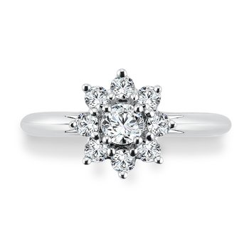 Halo Engagement Ring Mounting in 14K White Gold (.64 ct. tw.)