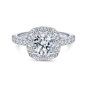 14k White Gold Pave Diamond Halo Engagement Ring