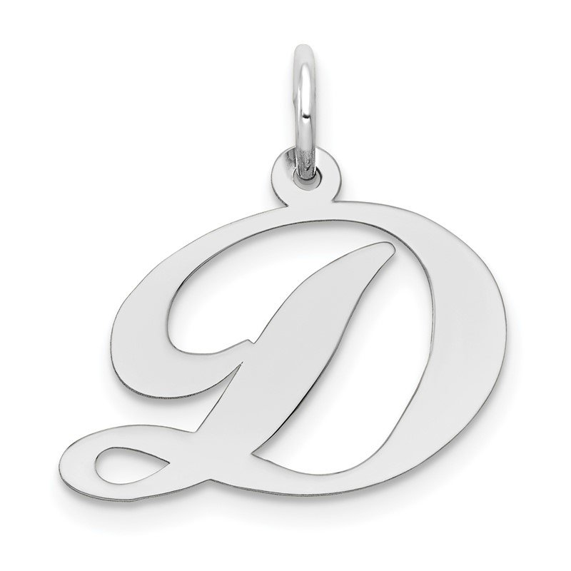 Quality Gold 14k White Gold Medium Fancy Script Letter D Initial Charm