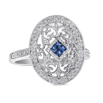 Sterling Sliver vintage style ring with diamonds (0.08ct) and sapphires (0.20ct)
