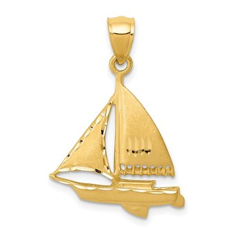 14k Satin Diamond-cut Sailboat Pendant