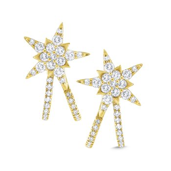 14k Gold and Diamond Star Earrings