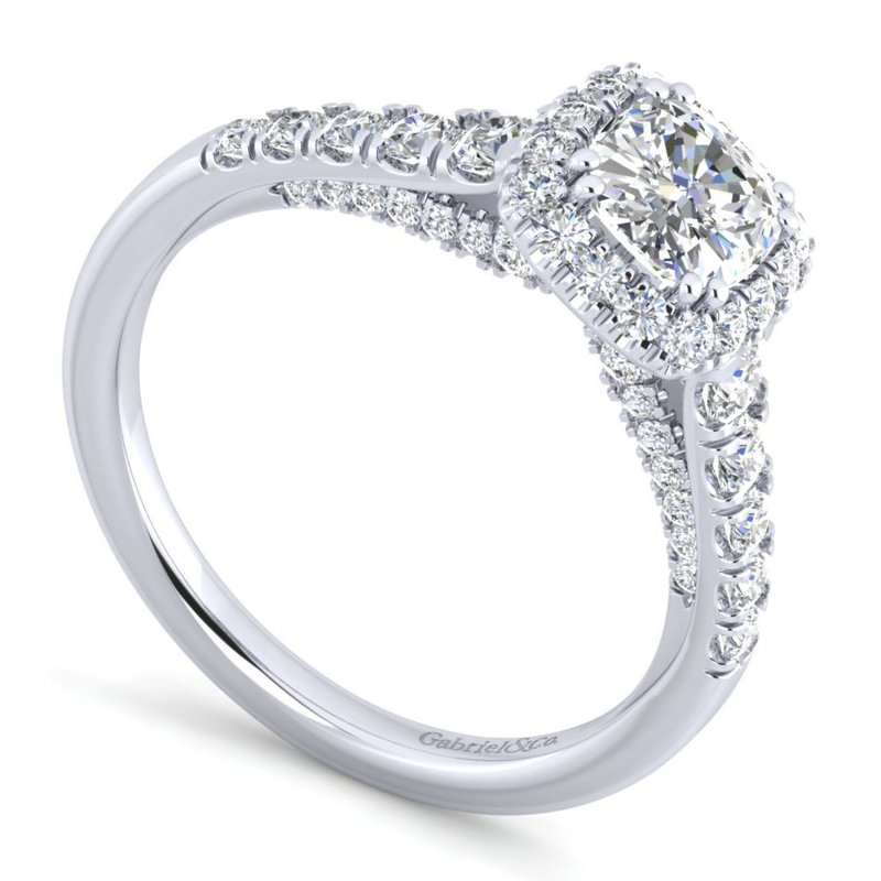 Gabriel Bridal Bestsellers 14K White Gold Cushion Halo Diamond Engagement Ring
