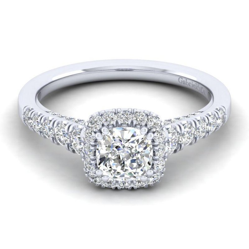 Gabriel Bridal 14K White Gold Cushion Halo Diamond Engagement Ring
