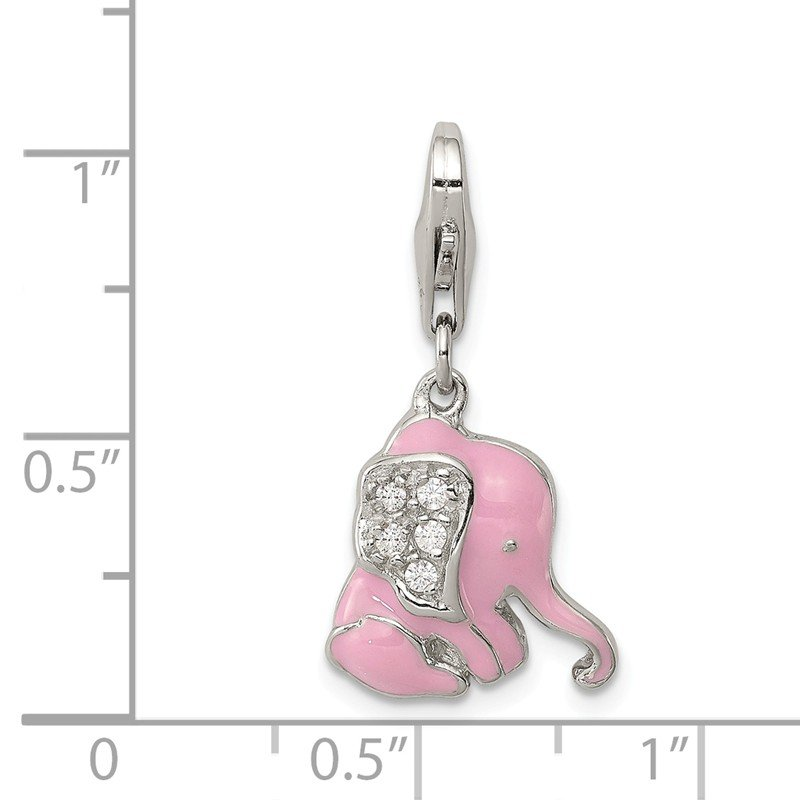 Quality Gold Sterling Silver Pink Enameled CZ Elephant Charm