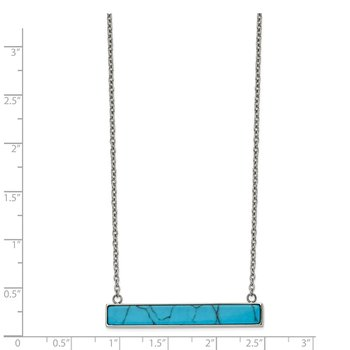 Stainless Steel Polished Reconstructed Howlite Bar w/1.75in ext. Necklace