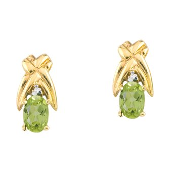 14k Yellow Gold 6x4 mm Peridot and Diamond Oval Shaped Earrings
