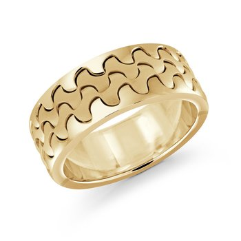 Catch the wave with this 9mm all yellow gold interlock center band