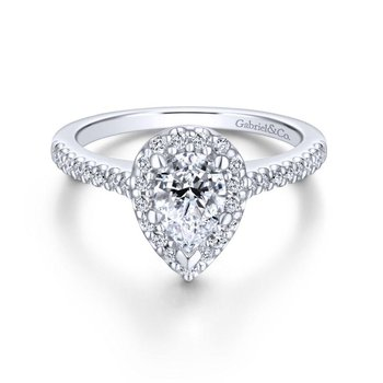 14k White Gold Diamond Pave Pear Shape Halo Engagement Ring
