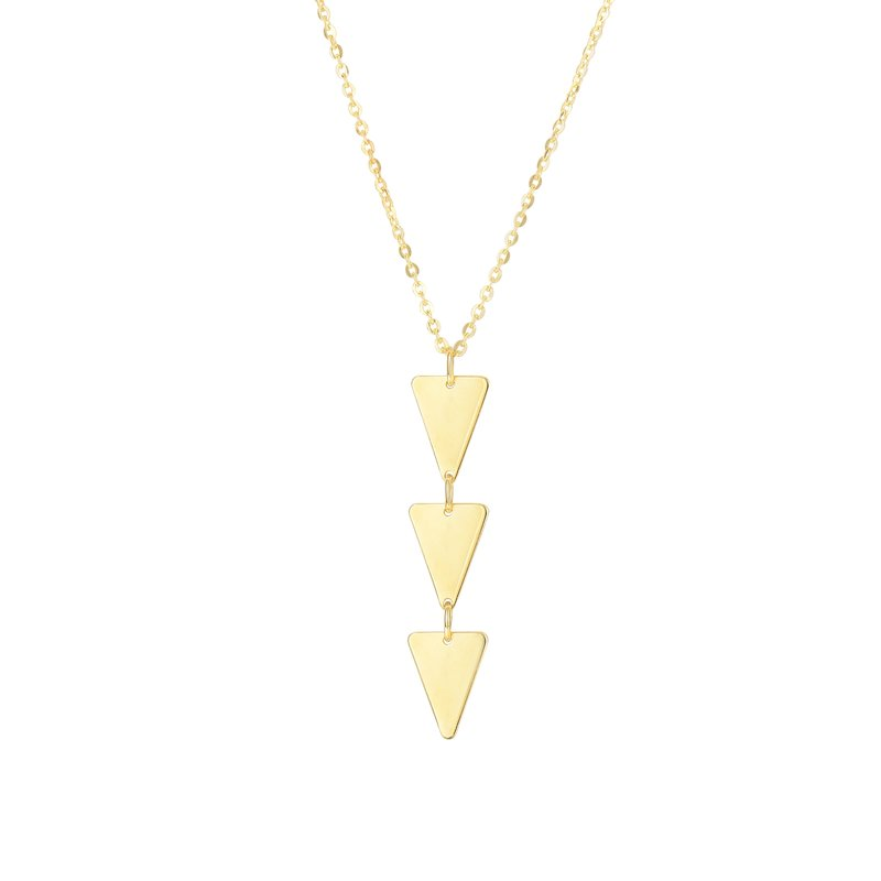 Royal Chain 14K Gold Triangle Drop Lariat Necklace