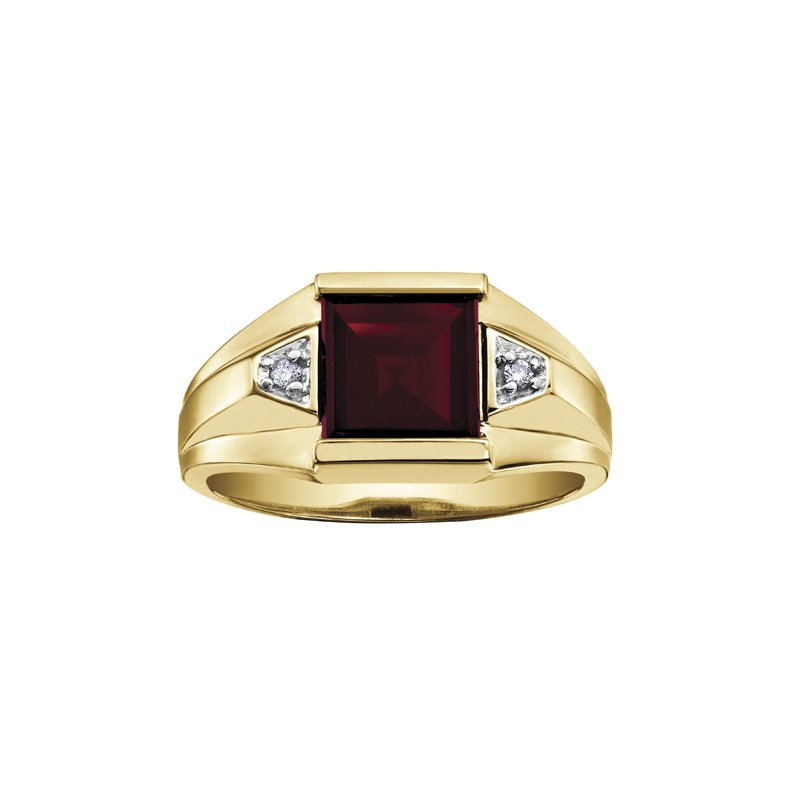 Diamond Days Garnet Gents Ring