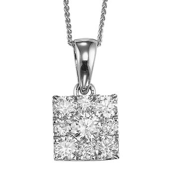 14K Diamond Pendant 1/4 ctw Square