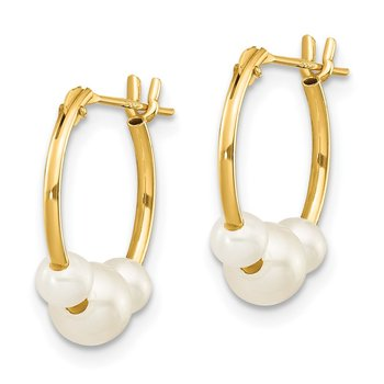 14k Madi K White Semi-round Freshwater Cultured 3 Pearl Hoop Earrings