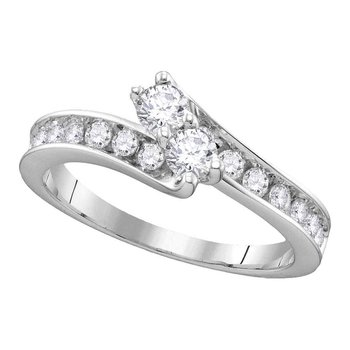 14kt White Gold Womens Round Diamond 2-stone Hearts Together Bridal Wedding Engagement Ring 1-1/2 Cttw