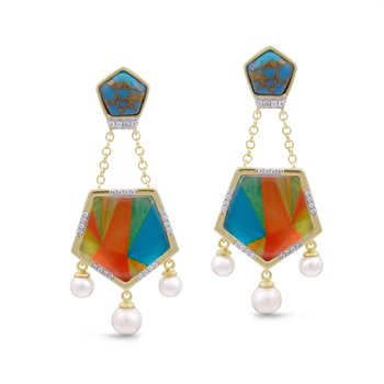 LuvMyJewelry Turquoise & Vibrant Mosaic Wild & Free Earrings in Sterling Silver & 14 KT Yellow Gold Plating