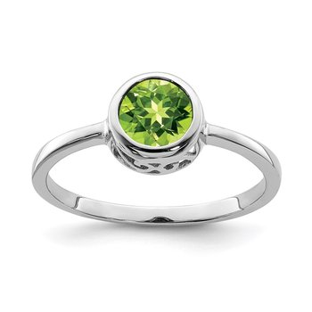 Sterling Silver Rhodium-plated Polished Peridot Round Ring