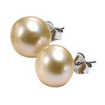 Silver Fresh Water Pink Pearl Studs 10.5 mm