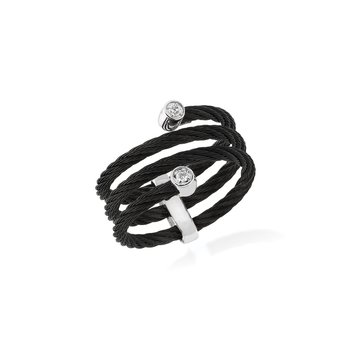 Black Cable Flex Ring with 18kt White Gold & Diamonds