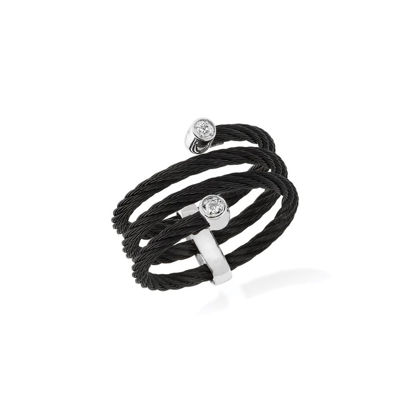 ALOR Black Cable Flex Ring with 18kt White Gold & Diamonds