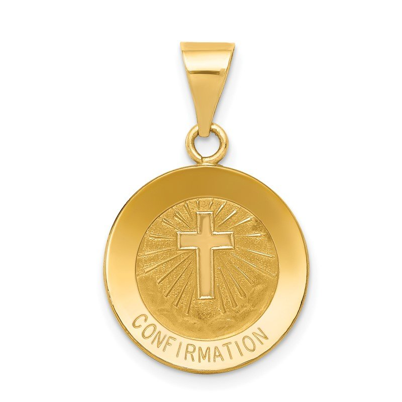 Quality Gold 14k Polished and Satin Confirmation Medal Hollow Pendant