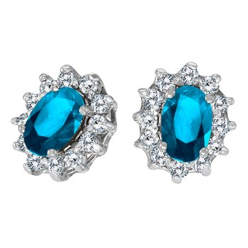 14k White Gold Oval Blue Topaz and .25 total ct Diamond Earrings